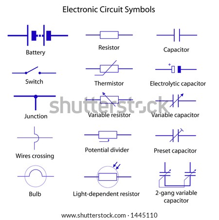 Electronic Circuit Symbols Stock Vector Royalty Free 1445110