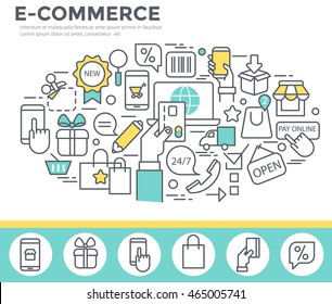 Electronic commerce concept illustration, thin line, flat design