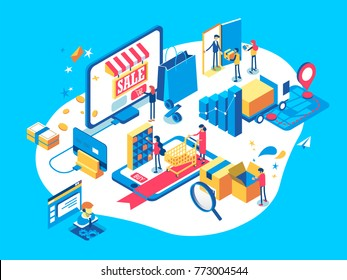 Electronic commerce concept with people, plastic card, delivery service, smartphone screen elements. Online shopping isometric illustration.