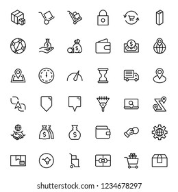 Electronic commerce flat icon set . Single high quality outline symbol of info for web design or mobile app. Thin line signs for design logo, visit card, etc. Outline logo of electronic commerce