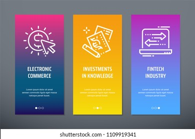 Electronic commerce, Investments in knowledge, Fintech industry Vertical Cards with strong metaphors. Template for website design.