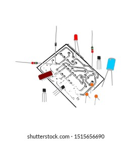 Electronic components icons. Isometric vector illustration of electronic components like capacitor, diode, led, resistor, transistor, IC, PCB for electronic components education illustration.