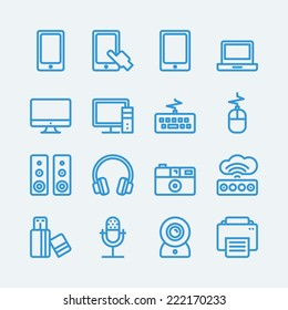 Electronic computer devices line icons. Vector EPS10