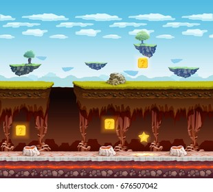 Electronic computer video game display screen view with dark underground glowing treasure search floor cartoon vector illustration