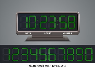 Electronic contdown timer with green scoreboard, vector illustration