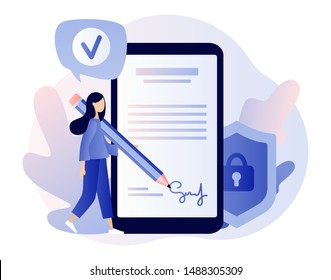 Electronic contract or digital signature concept. Modern flat cartoon style. Vector illustration