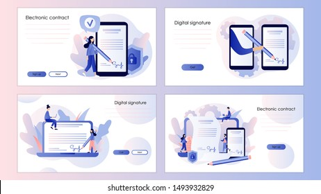Electronic contract or digital signature concept. Screen template for mobile smart phone, landing page, template, ui, web, mobile app, poster, banner, flyer. Modern flat cartoon style.  Vector