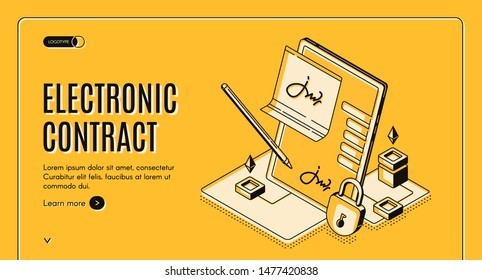 Electronic contract isometric web banner, e-signature on document at tablet screen with stylus pen and padlock, digital signing service secured internet technology, 3d vector landing page, line art