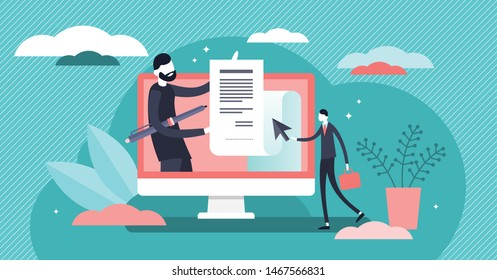 Electronic contract vector illustration. Flat tiny digital signature persons concept. Abstract online agreement sign visualization. Modern business system with secure distance deal document transfer.