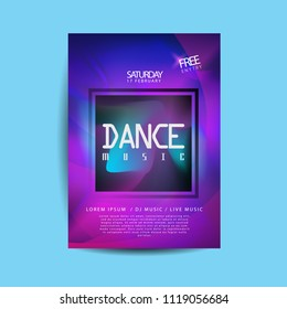 electronic dance music cover template for summer fest or club party flyer, colorful waves with gradient background