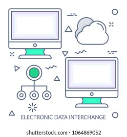 Electronic data interchange Modern flat color line vector icon