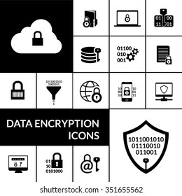 Electronic data transfer security encryption symbols icons composition banner with padlock shield and cloud black abstract vector illustration