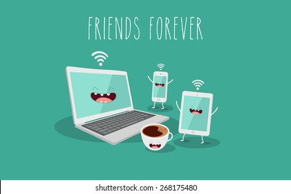Electronic device, computer, laptop, tablet, phone and coffee illustration. Vector cartoon. Friends forever. Comic characters.