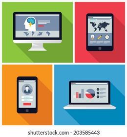 Electronic Device Flat Design Illustrations, computer, laptop, tablet, phone