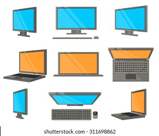 Electronic Device Flat Icons. Computer and laptop in different angles