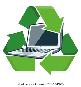 Electronic device laptop with recycling symbol. Isolated vector illustration. Waste Electrical and Electronic Equipment - WEEE concept.