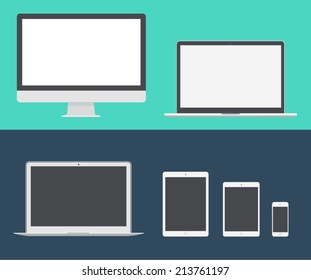 Electronic device (mac book, iPad, mac pro) laptop, phone, tablet, monitor trendy flat icons. Vector illustration.