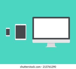 Electronic device (mac book, iPad, mac pro), laptop, phone, tablet, monitor trendy flat icons. Vector illustration.