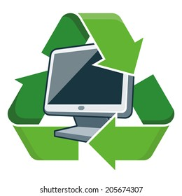 Electronic device pc monitor with recycling symbol. Isolated vector illustration. Waste Electrical and Electronic Equipment - WEEE concept.