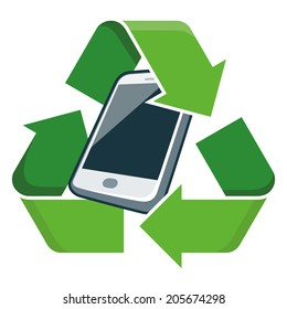 Electronic device phone with recycling symbol. Isolated vector illustration. Waste Electrical and Electronic Equipment - WEEE concept.