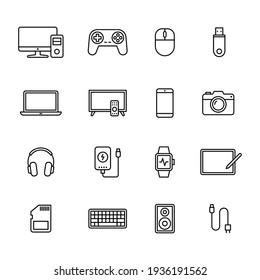 Electronic Devices icons, Set of gadget symbol, Simple line design for application, UI, websites and decoration, Vector illustration - Shutterstock ID 1936191562