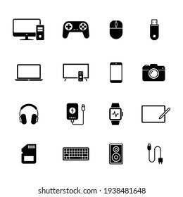 Electronic Devices icons, Set of gadget symbol, Simple flat design for application, UI, websites and decoration, Vector illustration - Shutterstock ID 1938481648