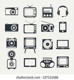Electronic devices. Icons set style of minimalism