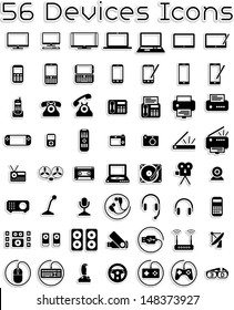 Electronic Devices Icons - Vector icons set covering electronic devices: computers, tablets, laptops, accessories.