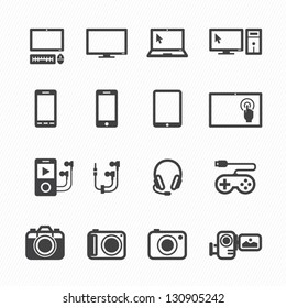 Electronic Devices Icons with White Background