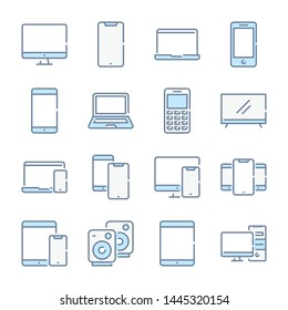 Electronic, Devices and Mobile phones related blue line colored icons.