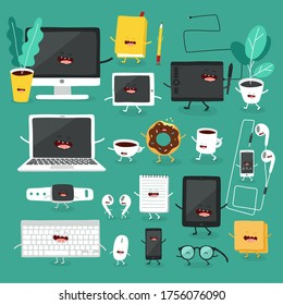 electronic devices. Office set. Vector illustration.