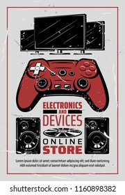 Electronic devices online store poster in retro vintage design. Vector multimedia audio sound systems, video and music players or TV television, computer game console and joystick and smart appliances