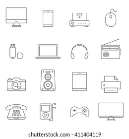 Electronic devices outline icons. Modern technology devices set