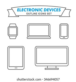 Electronic devices outline icons set. Outlined mobile phone, laptop, smart watch, all-in-one PC, tablet.
