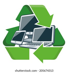 Electronic devices with recycling symbol. Isolated vector illustration. Waste Electrical and Electronic Equipment - WEEE concept.