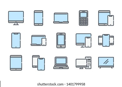 Electronic and devices related color line icon set. Computers and mobile phones colorful linear icons. Laptop, hardware and tablet flat color outline vector sign collection.