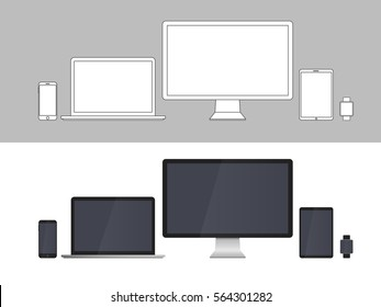 Electronic Devices Screens isolated on white background. Desktop computer, laptop, tablet and mobile phones with transparency.