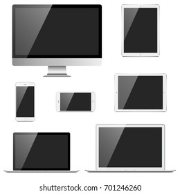 Electronic Devices Set - 7 electronic devices with blank, shiny screens isolated on white background. Devices include desktop computer, laptop, tablets & mobile phone.  Eps 10 file with transparency.