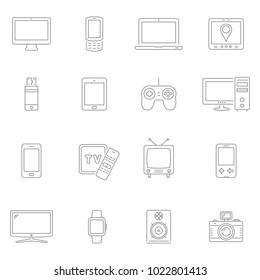 Electronic devices thin line icons. Vector devices.