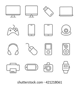 Electronic devices thin line icons. 16 device icons universal set for web and mobile. Vector devices .