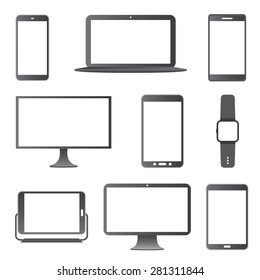 Electronic Devices Vector Icon Set.