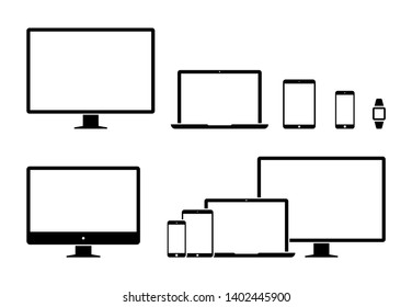 Electronic devices, web design vector template with laptop, tablet, smartphone, computer. Flat design, vector illustration on background.