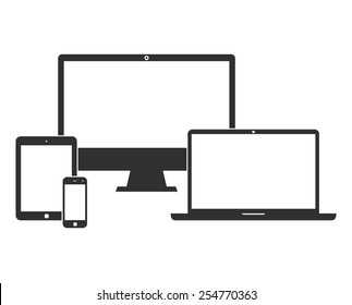 Electronic devices with white blank screens - computer monitor, smartphone, tablet, and laptop isolated on white background. Vector iilustration set of black icons. EPS10