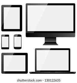Electronic Devices with White Screens - Set of electronic devices with white screens isolated on white background.  Desktop computer, laptop, tablets and mobile phones.  Eps10 file with transparency.