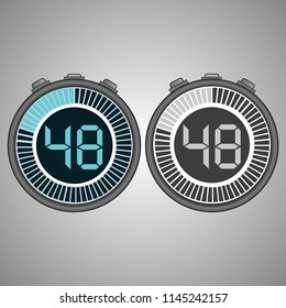 Electronic Digital Stopwatch. Timer 48 seconds isolated on gray background. Stopwatch icon set. Timer icon. Time check. Seconds timer, seconds counter. Timing device. Two options. EPS 10 vector.