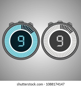 Electronic Digital Stopwatch. Timer 9 seconds isolated on gray background. Stopwatch icon set. Timer icon. Time check. Seconds timer, seconds counter. Timing device. Two options. EPS 10 vector.