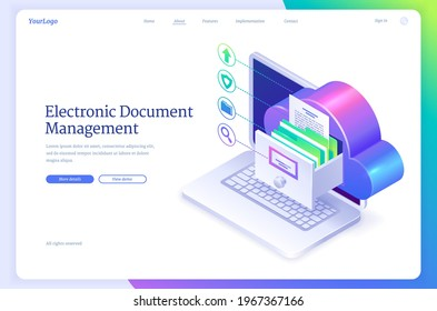 Electronic document management isometric landing page. Online paperwork storage, digital system of paper organization, manage business docs with cloud, drawer on computer screen 3d vector web banner