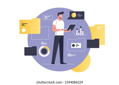 Electronic document management vector illustration. Man with laptop flat style design. Documents flow and processing. Computer archive and information database. Data network flow concept