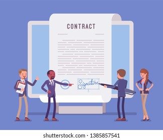 Electronic document signature, contract page on screen. Business people sign official paper, formal agreement, businessman with giant pen putting name as a form of identification. Vector illustration