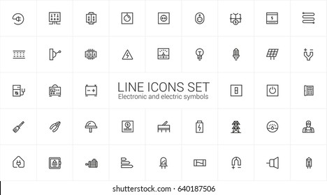 Electronic and electrics. Minimalism vector symbols, line icons set for mobile and desktop screens design.